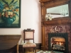 Antique fireplace, hand carved mantel and tile with mirror